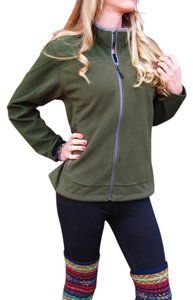 Lands' End Green Fleece Zipup Soft Likenew Forest Green Jacket