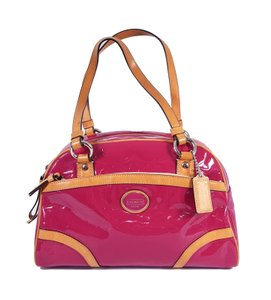 Coach Signature Embossed Patent Leather Rare Peyton Satchel in Pink & Tan