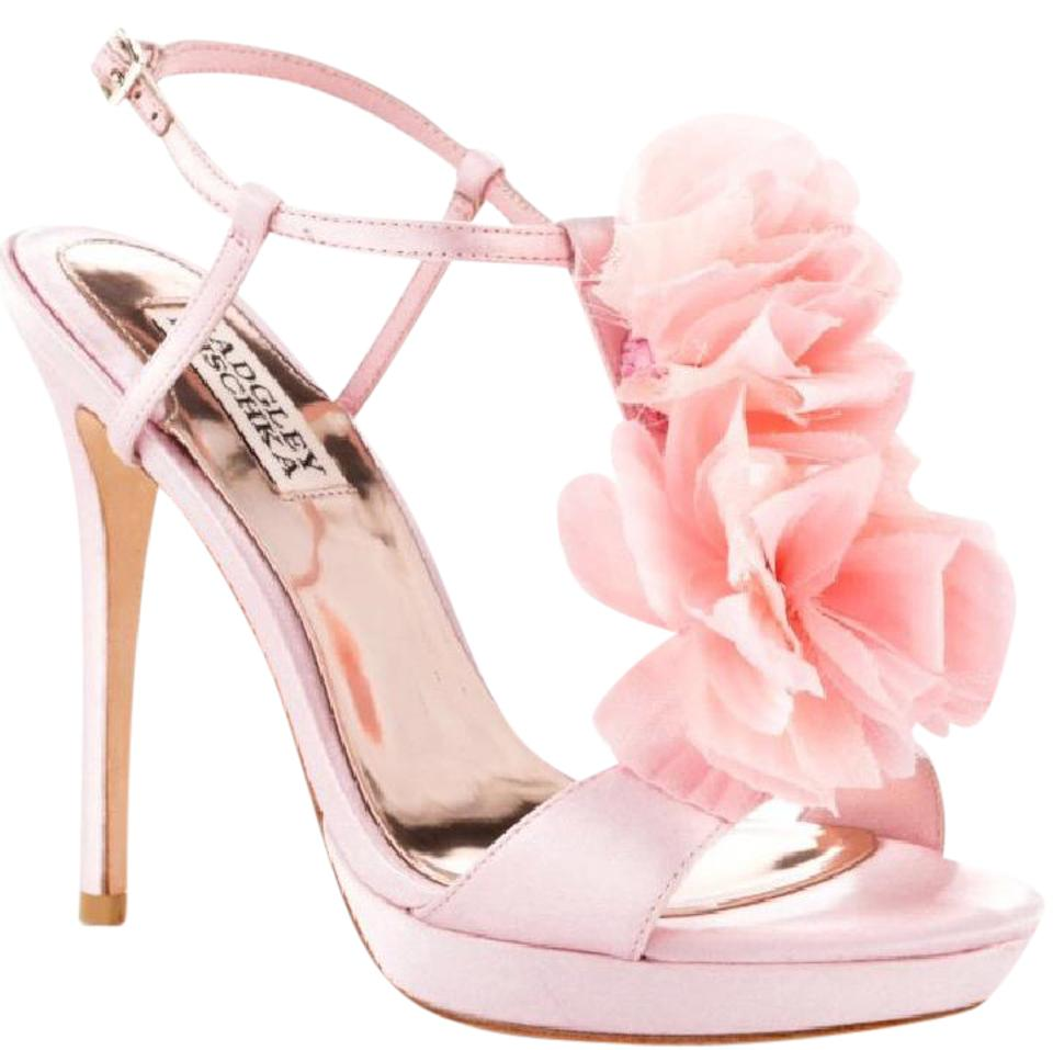 Badgley mischka pink new t strap ruffle flower heel formal shoes badgley mischka pink formal mightylinksfo