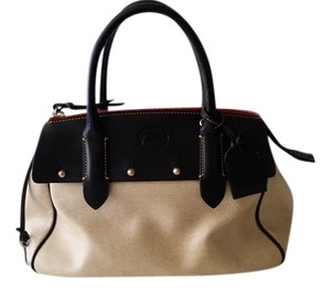 Dooney & Bourke Modern & Large Satchel in Black & Tan