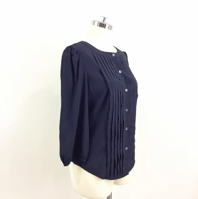 Elie Tahari Pleated Button Up 3/4 Sleeve Loose Button Down Shirt Black