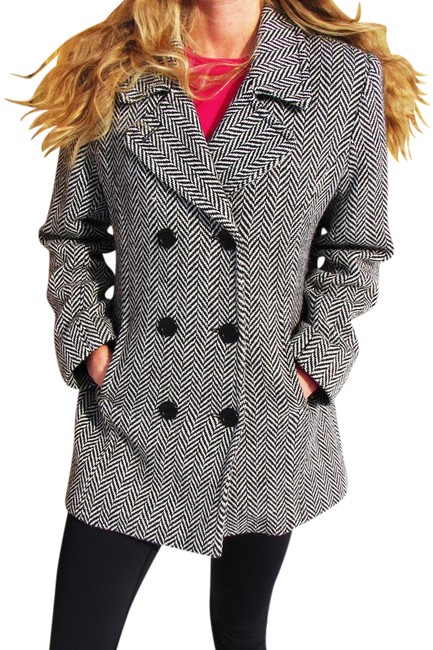 Item - Black and White Double Breasted Coat Size 10 (M)