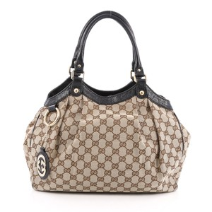 Gucci Sukey Canvas Monogram Tote in Light Brown