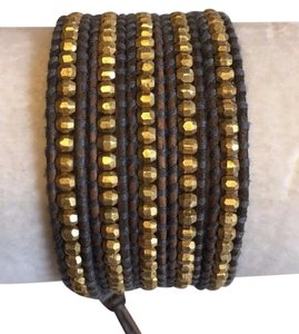 Chan Luu New Auth Chan Luu Gold Indian Bead Wrap Bracelet on Brown Leather Gray