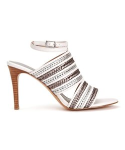 BCBGeneration Braided Stiletto Strappy Metallic White/Gray Sandals