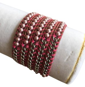 Chan Luu New Authentic Chan Luu Pink Chain and Pearl Five Wrap Bracelet
