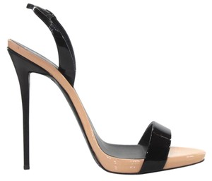 Giuseppe Zanotti Coline Patent Leather Nude Slingback Black Sandals
