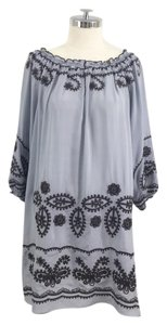 Blue Tassel short dress Blue Embroidered Silk Tunic Off The Shoulder on Tradesy