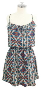 Parker short dress Blue Ruffle Racer-back Printed Multicolored Print on Tradesy