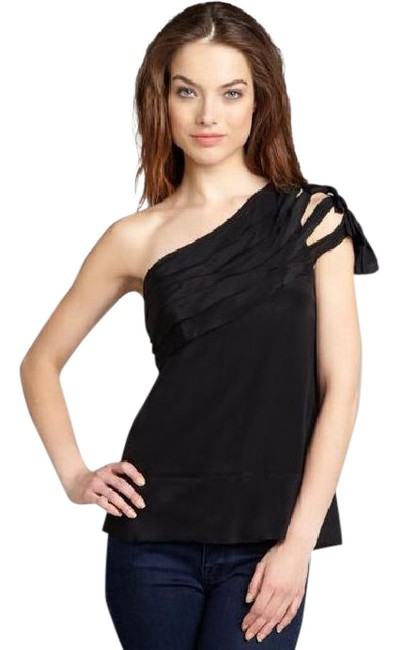 Preload https://img-static.tradesy.com/item/21245851/bcbgmaxazria-black-one-shoulder-silk-knotted-blouse-size-12-l-0-1-650-650.jpg