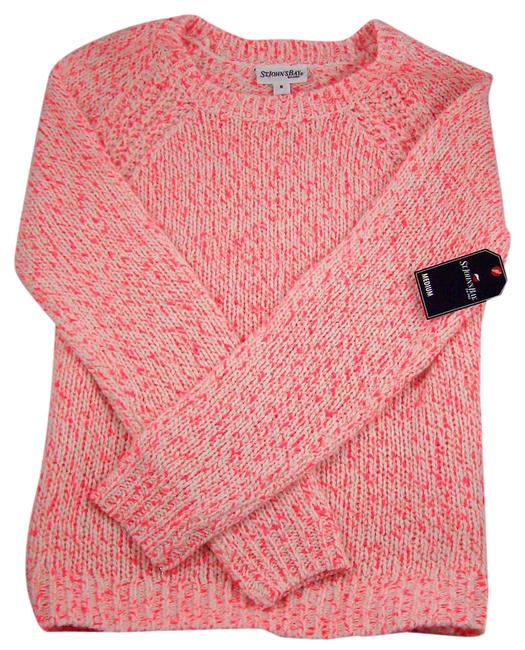 Preload https://img-static.tradesy.com/item/21245857/ivoryneon-pink-large-sweaterpullover-size-12-l-0-1-650-650.jpg