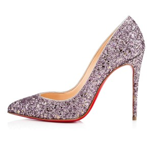 Christian Louboutin Sequin Stiletto Mint Condition Ronsnar and Silver Pumps