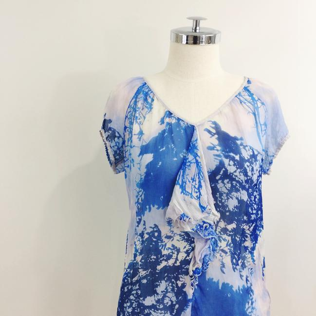 Anthropologie Silk Print Ruffle Elastic Short Sleeve Top Blue