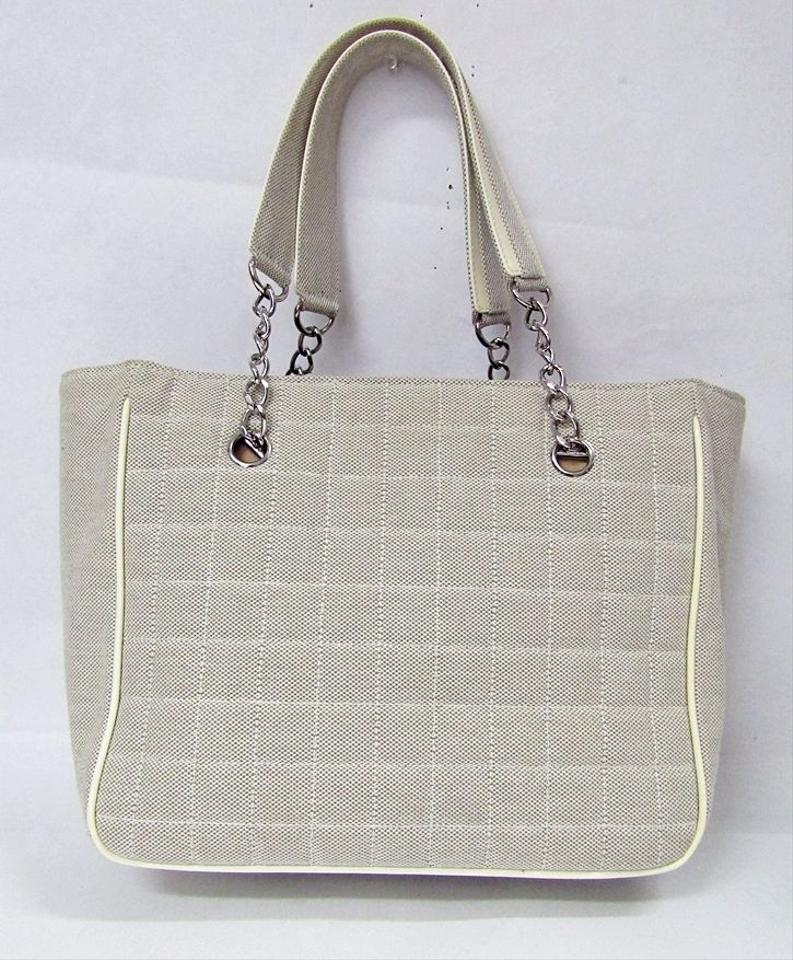 18ee82be4c7f98 Chanel Camellia Floral Flower Logo Canvas Tote in beige Image 11.  123456789101112