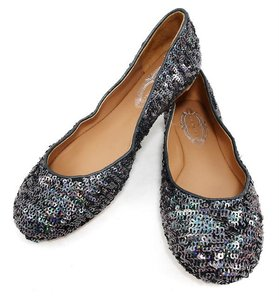 Elie Tahari Sparkle Sequin Ballerina Leather Sparkling Steel Flats