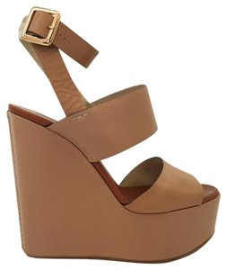 Chloé Ankle Strap Nude Tan Brown Wedges