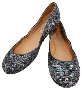 Elie Tahari Ballet Leather Sequin Sparkle Sparkling Steel Flats