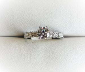 White Gold Diamond Side Stone In Platinum - Gia Certified Engagement Ring