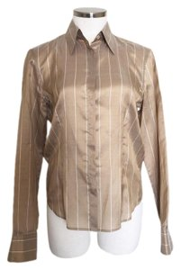 Armani Collezioni 100% Silk Striped Button Down Shirt Golden Brown
