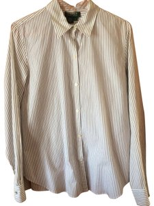 Ralph Lauren Pinstripe Button Down Shirt White