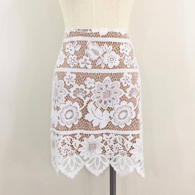For Love & Lemons Gianna Lace Pencil Scalloped Mini Skirt White and Nude