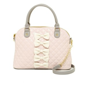 Betsey Johnson Bow Dome Satchel in Pink