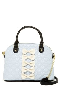 Betsey Johnson Bow Dome Satchel in blue