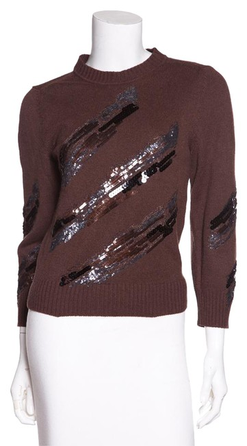Preload https://img-static.tradesy.com/item/21246259/marc-jacobs-brown-cropped-sleeve-cashmere-sequin-sweaterpullover-size-4-s-0-2-650-650.jpg