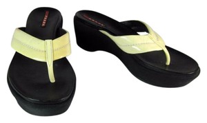 Prada Lether Wedge Black & Cream Sandals