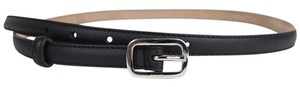 Gucci Women's Leather Skinny Belt w/Silver Square Buckle 90/36 354659 1000