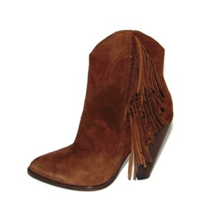 Frye Short Fringed, Wood Suede Bootie Boots