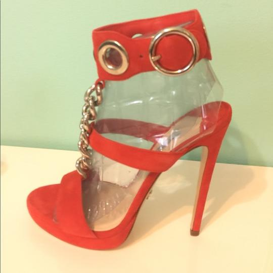 Prada Suede Platform Heels red Sandals