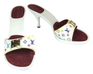 Louis Vuitton White Lv Gold Louis Leather Sandals