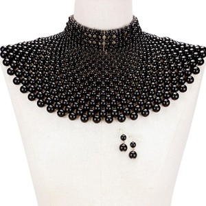 Other Pearl armor bib choker necklace and Earrings Set