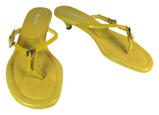 Prada Leather Flip Logo Yellow Sandals