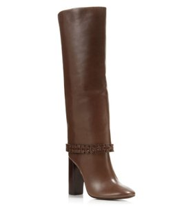 Tory Burch Leather Tb Sarava Chocolate Chocolate Brown Boots