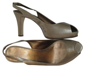 Marc Fisher Slingback Open Toe Metallic Sanjay Beige Pumps