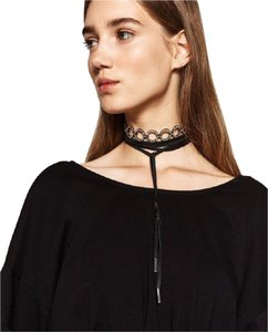 Zara NEW!!! TAGS ZARA BLACK LEATHER AND SHINY CHOKER PACK NECKLACES