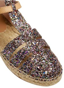 Kate Spade Espadrille Buckle Necklace Glitter Multi Sandals