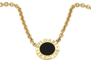 BVLGARI Bulgari 18K Yellow Gold Circular Onyx Pendant Necklace