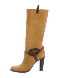 Gucci Shearling Logo Suede Italy Tan Brown Boots