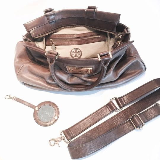 Tory Burch Leather Holland Travel Designer Satchel in Brown, Neutral