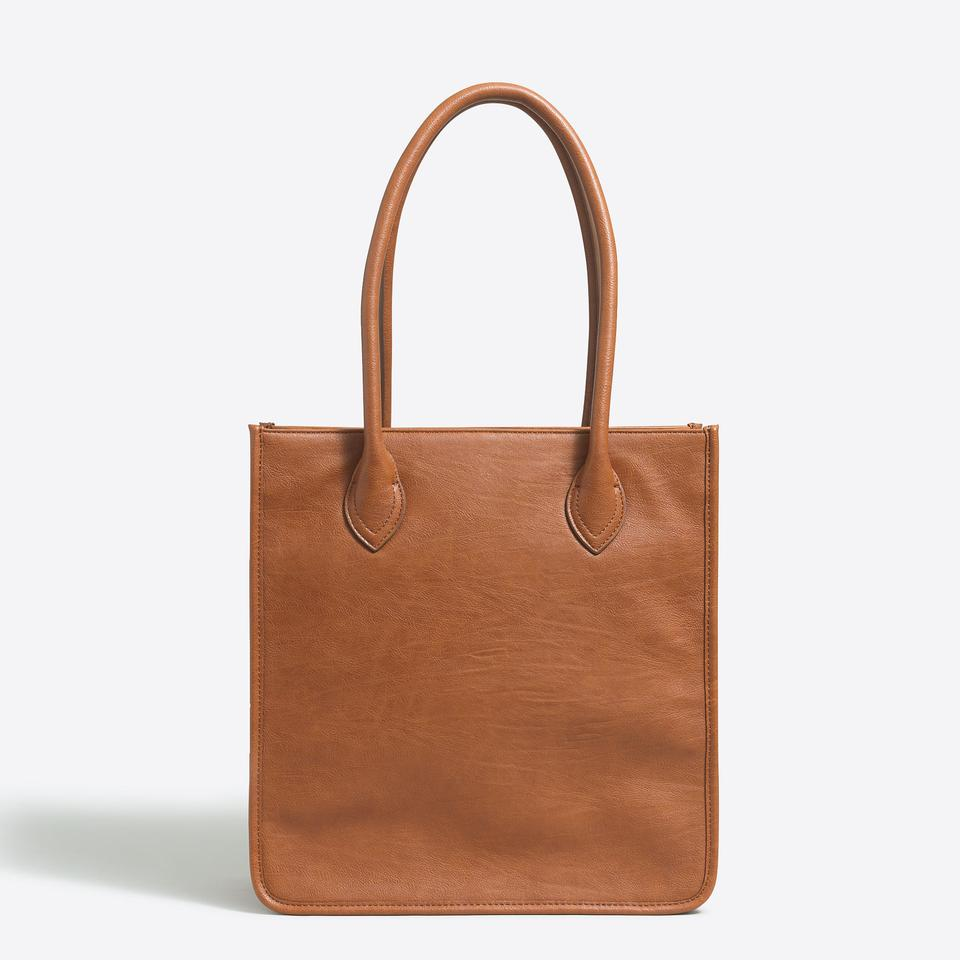 Relatively J.Crew New Tags Vegan Shoulder Purse Camel Tan Faux Leather Tote  MG07 5efc1123ea3c4
