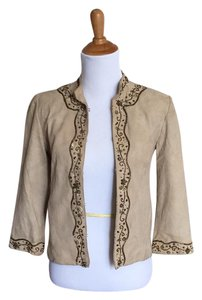 Cole Haan Suede Leather Beaded tan Jacket