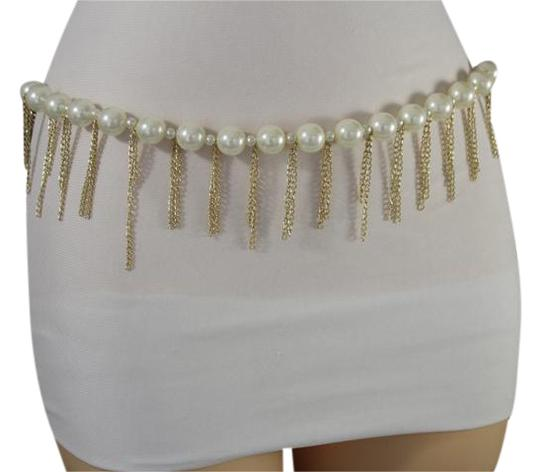 Preload https://img-static.tradesy.com/item/21246717/white-women-gold-metal-chain-dancing-trendy-hip-high-waist-pearls-belt-0-1-540-540.jpg