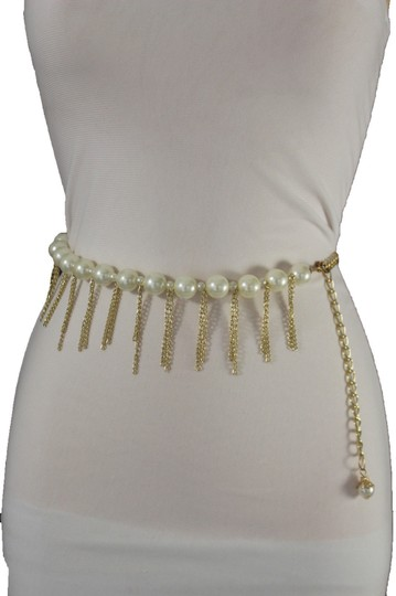 Other Women Gold Metal Chain Dancing Trendy Belt Hip High Waist Pearls