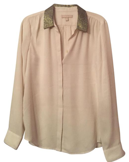 Item - Cream Sheer Button-down Top Size 8 (M)