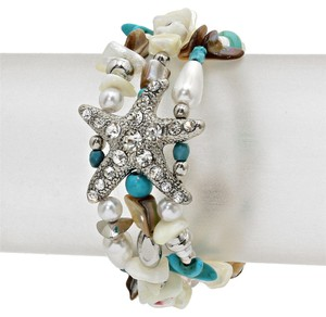 Other Starfish Pearl Bead Crystal Accent Silver Tone Bracelet Stretchable