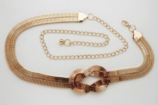 Other Women Fashion Belt Gold Mesh Metal Braided Infinity Twisted Charm Play