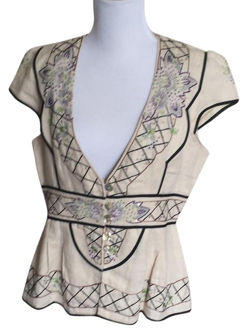 Preload https://img-static.tradesy.com/item/21246888/nanette-lepore-cream-multi-linen-beaded-detailed-cap-sleeve-vest-jacket-tunic-size-10-m-0-1-650-650.jpg